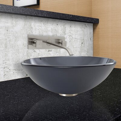 Sheer Frost Glass Vessel Sink and Titus Wall Mount Faucet Set by Vigo