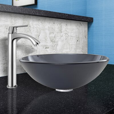 Sheer Frost Glass Vessel Sink and Linus Faucet Set by Vigo