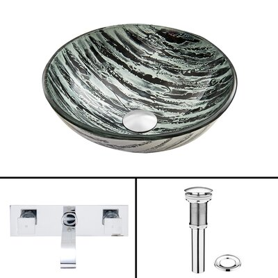 Rising Moon Glass Vessel Sink and Titus Wall Mount Faucet Set by Vigo