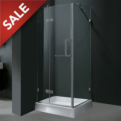 """30.25"""" W x 30.25"""" D x 73"""" H Pivot Door Frameless Shower Enclosure with Base Product Photo"""