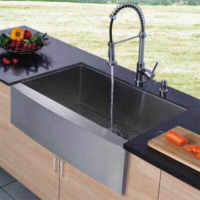 """36"""" x 22.25"""" Farmhouse Stainless Steel Kitchen Sink with Faucet and Soap Dispenser Product Photo"""