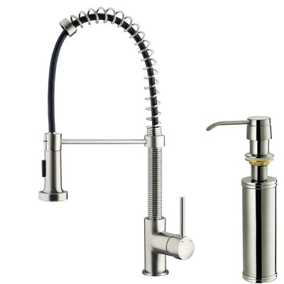 One Handle Single Hole Pull Out Spray Bar Faucet with Soap Dispenser Product Photo