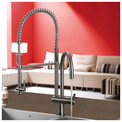 Single Handle Single Hole Pot Filler Kitchen Faucet with Pull-Down Spray Product Photo