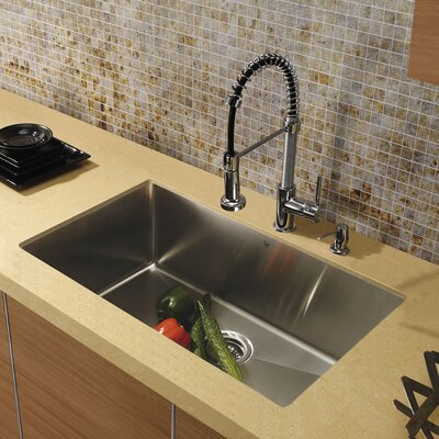 "32"" x 19"" Undermount 16 Gauge Single Bowl Kitchen Sink with Faucet and Soap Dispenser Product Photo"