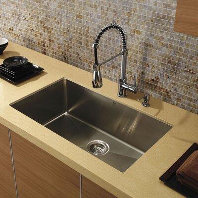 "32"" x 19"" Super Single Bowl 15 Degree Radius Undermount Kitchen Sink Product Photo"