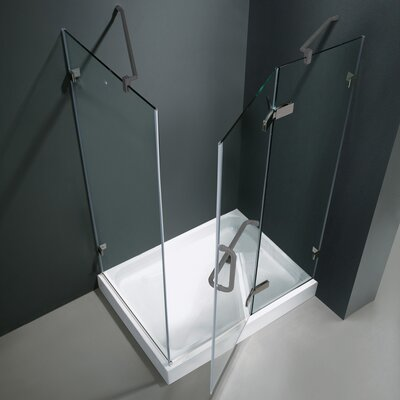 "Vigo 32"" W x 32"" D x 73.38"" H Pivot Door Frameless Shower Enclosure"