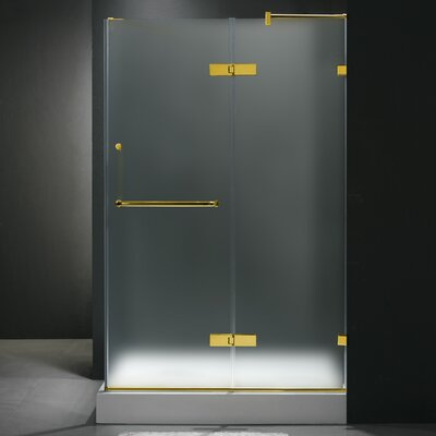 "24"" Pivot Door Swing Frameless Shower Enclosure with Base Product Photo"