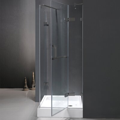"30.25"" W x 30.25"" D x 73"" H Pivot Door Frameless Shower Enclosure with Base Product Photo"