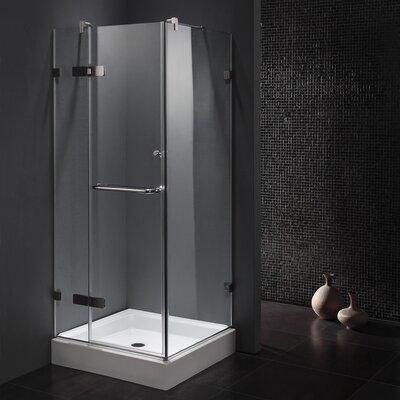 "34.125"" W x 34.125"" D x 73.33"" H Pivot Door Frameless Shower Enclosure Product Photo"