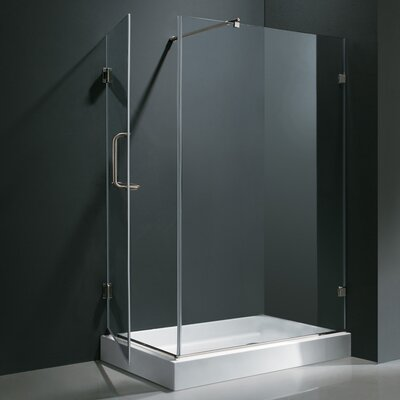 "48.125-in. W x 36.125-in. L x 79.25"" H Pivot Door Frameless Shower Enclosure with Left Drain Product Photo"