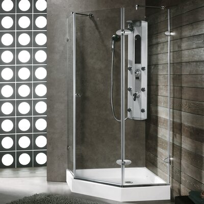 "38.125"" W x 38.125"" D x 73"" H Pivot Door Frameless Clear Shower Enclosure Product Photo"
