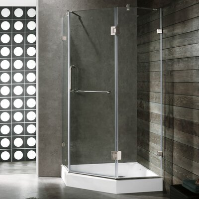 VIGO Piedmont 36.125 x 36.125 Frameless Neo-Angle .375-in Clear Glass/Brushed Nickel Hardware Shower Enclosure Product Photo