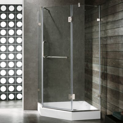 VIGO Piedmont 38.125 x 38.125 Frameless Neo-Angle .375-in Clear Glass/Chrome Hardware Shower Enclosure Product Photo