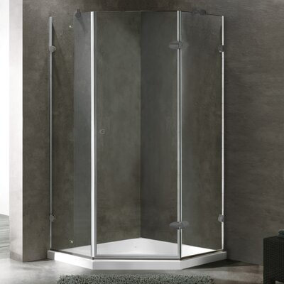 """36.13"""" W x 36.13"""" D x 76.75"""" H Pivot Door Frameless Clear Shower Enclosure with Low-Profile Base Product Photo"""
