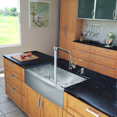 "Vigo All in One 36"" x 22.25"" Farmhouse Kitchen Sink and 13"" Faucet Set"