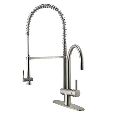 Single Handle Deck Mount Kitchen Faucet with Pull Down Spray and Deck Plate Product Photo