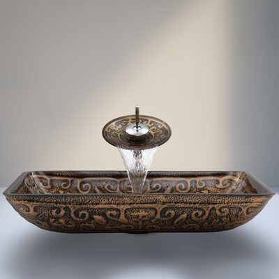 Golden Greek Glass Vessel Sink with Waterfall Faucet Product Photo