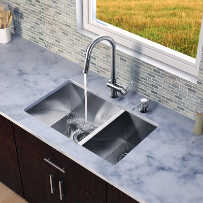 "29"" x 20"" x 10"" Zero Radius Double Bowl Kitchen Sink with Pull-Out Faucet Product Photo"