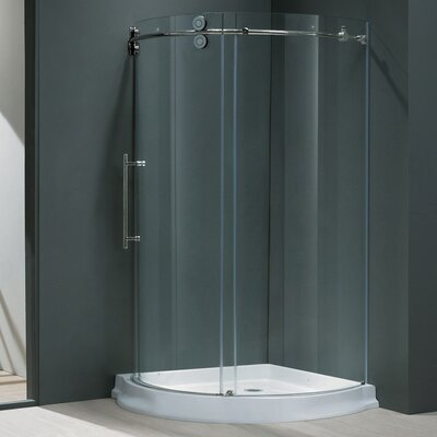 "38"" W x 38"" D x 74.63"" H Sliding Door Frameless Round Clear Shower Enclosure with Left-Sided Door Product Photo"