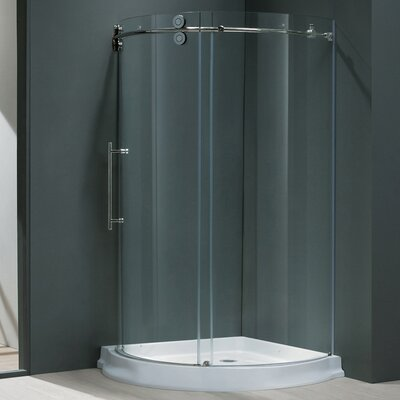"""38"""" W x 38"""" D x 74.63"""" H Sliding Door Frameless Round Clear Shower Enclosure with Left-Sided Door Product Photo"""