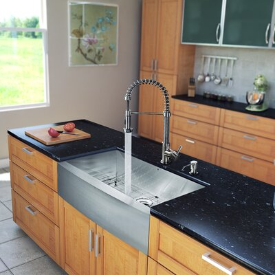 """All in One 36"""" x 22.25"""" 18.5"""" Farmhouse Kitchen Sink and Faucet Set Product Photo"""