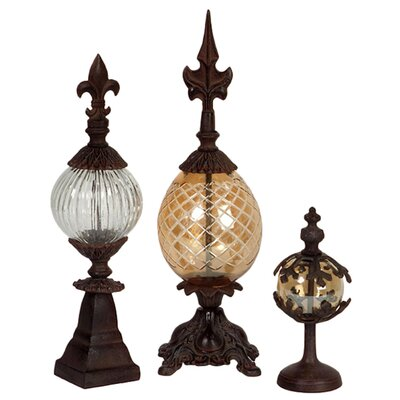IMAX Three Piece Glass and Metal Finial Set