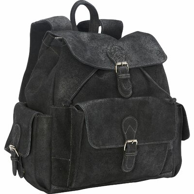 Distressed Backpack with Flap over Pockets by David King