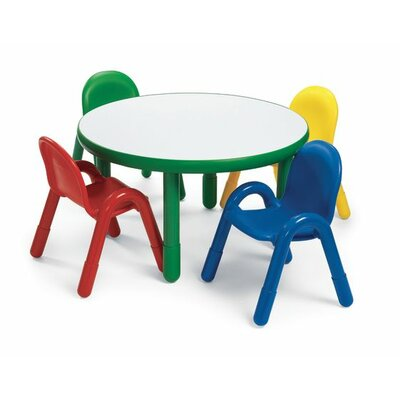 Angeles Round Baseline Preschool Table and Chair Set in Shamrock Green