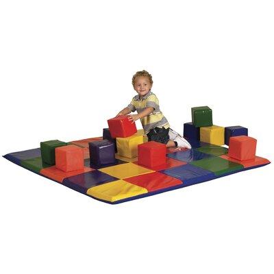ECR4kids Patchwork Mat & Toddler Blocks Set in Primary Colors
