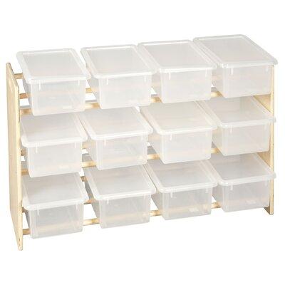 ECR4kids 3 Tier Toy Storage Dowel Rack With 12 Translucent Bins and Lids