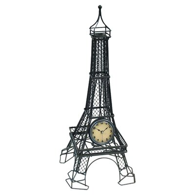 Metal Wire Eiffel Tower Table Clock by Infinity Instruments