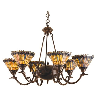 Meyda Tiffany 6 Light Tiffany Jeweled Peacock Chandelier