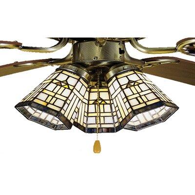"Meyda Tiffany 4"" Arrowhead Glass Bell Ceiling Fan Fitter Shade"