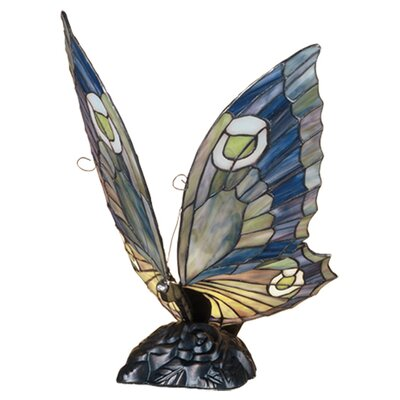 """Meyda Tiffany Butterfly 15"""" H Table Lamp with Novelty Shade"""