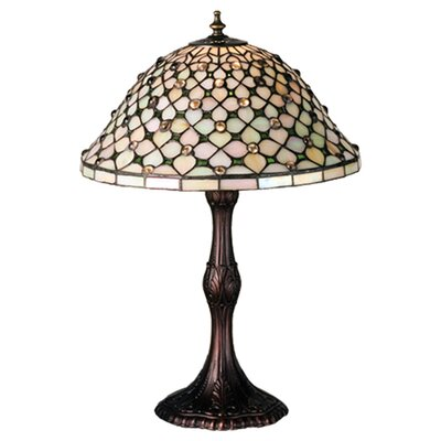 "Meyda Tiffany Tiffany Gothic Diamond and Jewel 20.5"" H Table Lamp with Bell Shade"