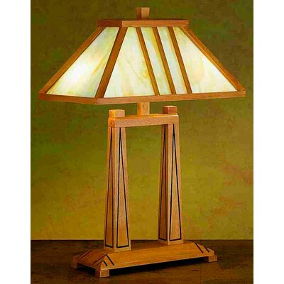 """Meyda Tiffany Forestwood Oblong 25"""" H Table Lamp with Rectangle Shade"""