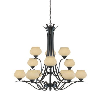 Moon Shadow Twelve Light 3 Chandelier in Burnished Bronze by Designers Fountain