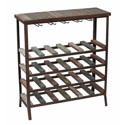 24 Bottle Iron and Wood Wine Rack by Privilege