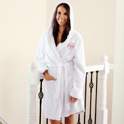 Cathys Concepts Personalized Plush Hooded Spa Robe with Encircled Block Monogram