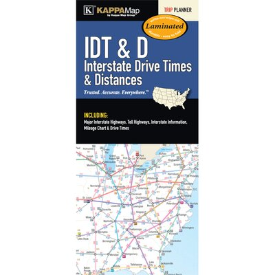 United States Interstate Drive Time Laminated Map by Universal Map