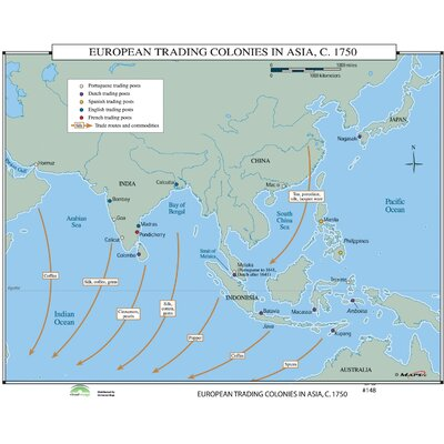 Universal Map World History Wall Maps - European Trading Colonies in Asia