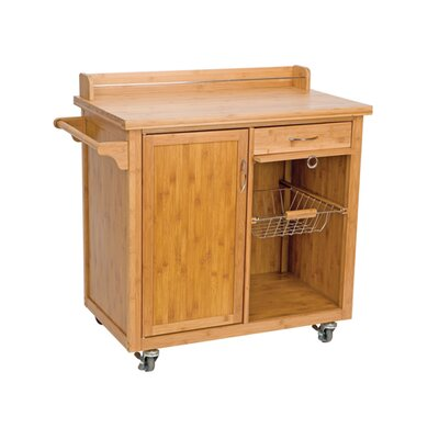 Ethos anglia bamboo kitchen trolley with cabinet and 2 for Bamboo kitchen cabinets reviews