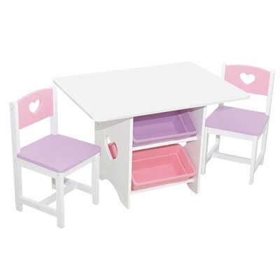 Heart Table And Chair Set With Pastel Bins Wayfair UK