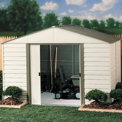Milford 10 Ft. W x 12 Ft. D Vinyl Coated Steel Storage Shed by Arrow ...
