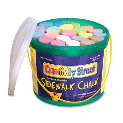 Chenille Kraft Company Sidewalk Chalk, Washable/Nontoxic, 20 per Box, Assorted