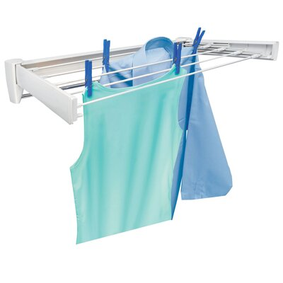 Telegant 70 Retractable Wall Mount Clothes Drying Rack with Towel Bar by LEIFHEIT