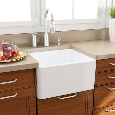 "20"" x 18"" Fireclay Farmhouse Kitchen Sink with Grid and Drain Product Photo"
