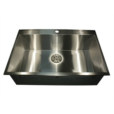 """Pro Series 33"""" L x 22"""" W Rectangle Single Hole Topmount Stainless Steel Kitchen Sink Product Photo"""