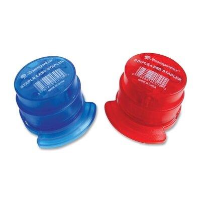 Baumgartens Staple-less Stapler, Staple-Less, 3 Sht Cap, Red/Blue