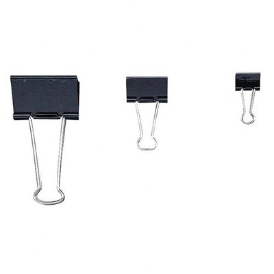 "Officemate International Corp Binder Clips,Mini,9/16""Wide,1/4"" Cap, 12/BX, Black/Silver"